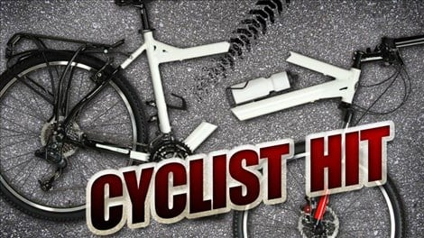 Cyclist hit bicycle accident Caption