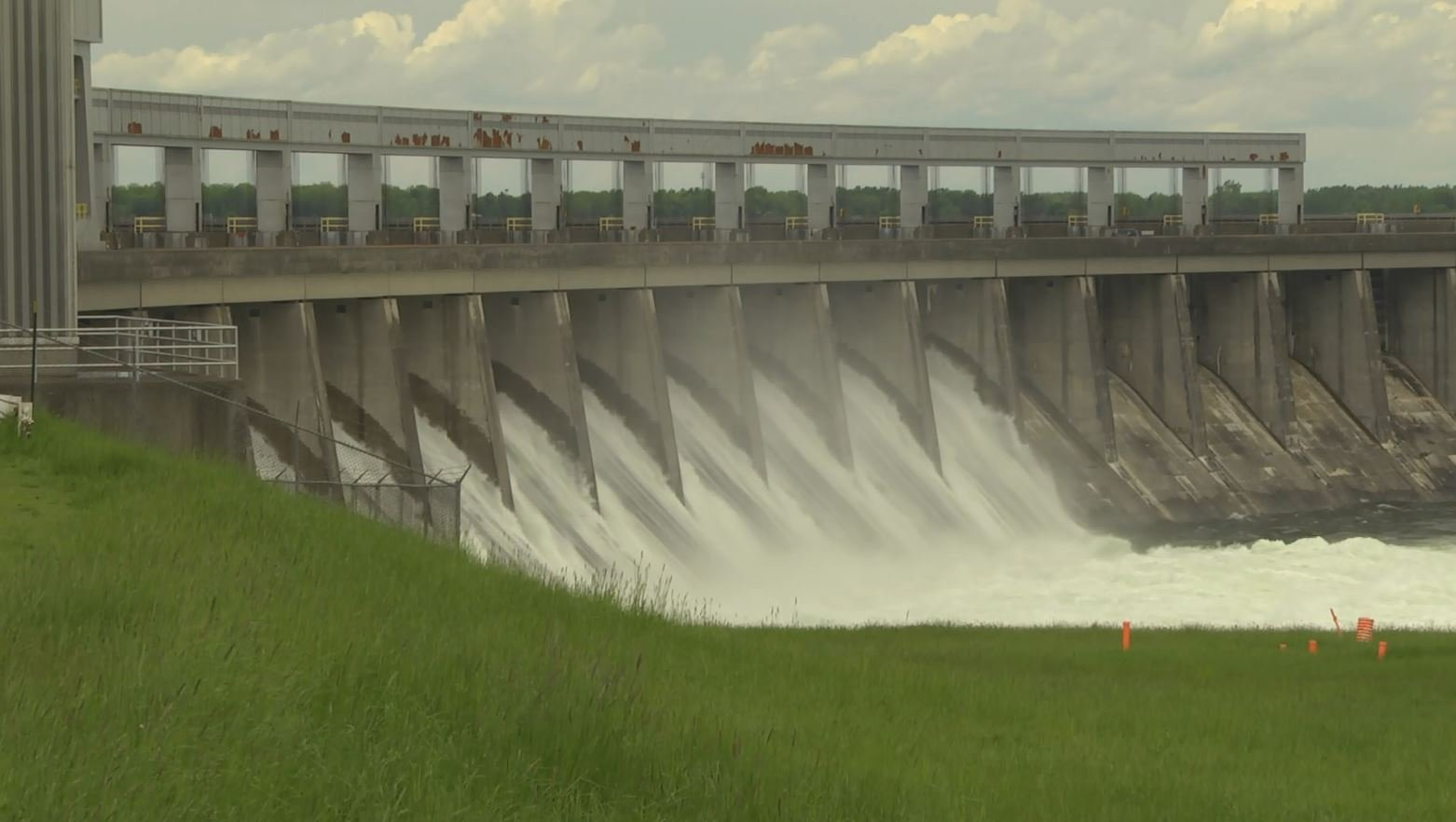 Water being released through Moses-Saunders Dam, Massena