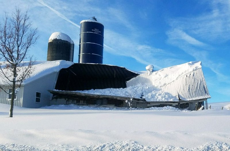Barn Roof Collapses Under Weight Of Snow